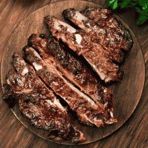 plate of country style pork ribs