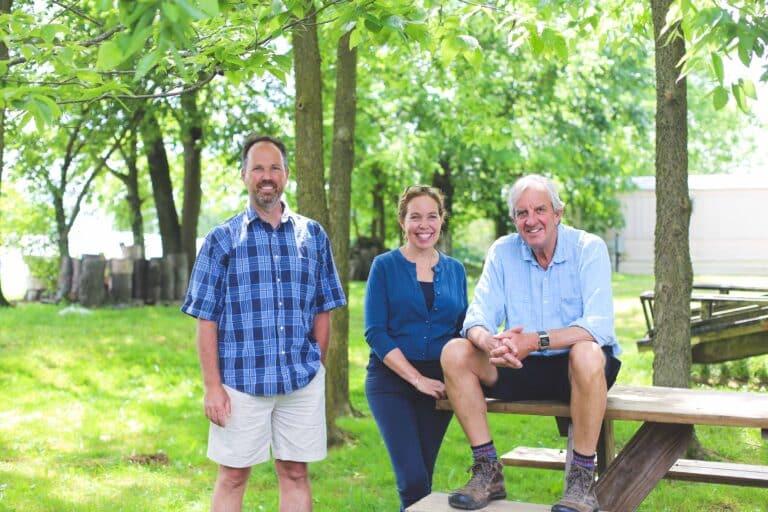 John Bell, Ann Stone and Mac Stone at Elmwood Stock Farm